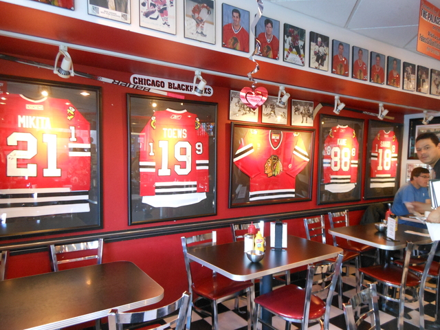 <p>The Red Wall displays Blackhawks memoribilia at Palace Grill, 1408 W. Madison St.</p>