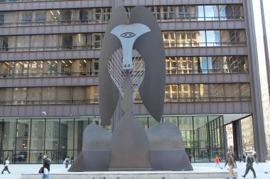 The Picasso sculpture in Daley Plaza. Originally confounding when first unveiled in 1967, it is now iconic to Chicago.