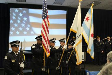 The Police Department Honor Guard presents the colors before a ceremony Tuesday morning honoring police officers.