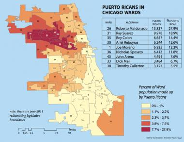This map shows where Puerto Ricans live in Chicago by ward.