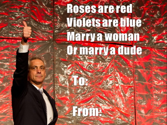 <p>Mayor Rahm Emanuel&#39;s office released a valentine celebrating the passing of a gay marriage bill through the Illinois Senate Thursday.</p>