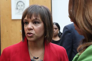 U.S. House candidate Robin Kelly speaks to supporters at a press conference Sunday.