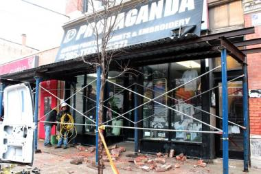 Around 8 a.m. Sunday, brick from a building above a T-Shirt shop fell onto the sidewalk in front of 1418 N. Milwaukee Avenue.  A CleanSlate worker witnessed the fall, police said.