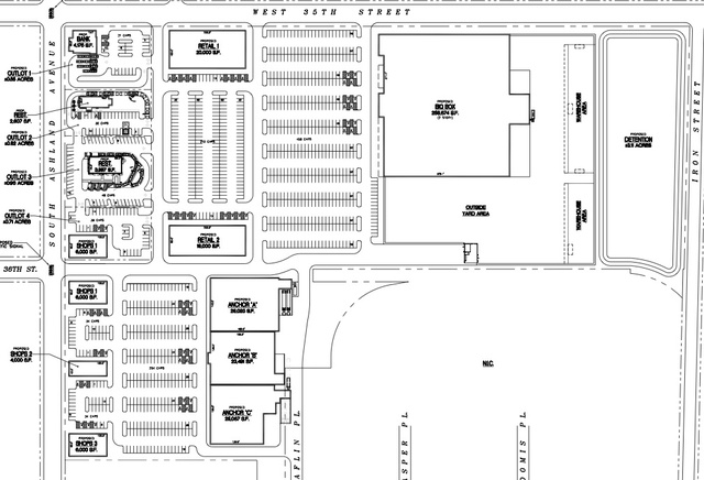 <p>According to this site plan from developers Avgeris and Associates, the old Wrigley gum manufacturing plants would be replaced with restaurants, retail stores, a bank and a big box store.</p>