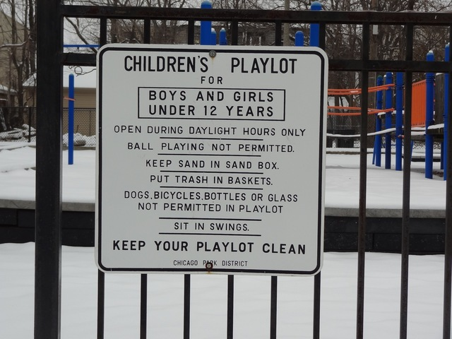<p>A sign for the children&#39;s playlot at Vivian Gordon Harsh Park, where 15-year-old Hadiya Pendleton was fatally shot.</p>