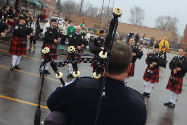<p>Bagpipers prepare for the 2013 South Side Irish Parade</p>