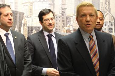 Ald. Bob Fioretti (right) wants to hold a hearing to determine if Taste of Chicago is worth continuing. He's backed by (from left) Aldermen John Arena and Scott Waguespack.