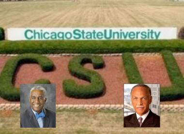 The Rev. Leon Finney (l.) was chairman of the Board of Trustees at Chicago State University in 2009 when it hired Wayne Watson as president.