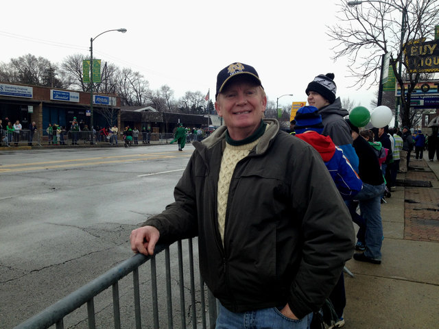 <p>Dan Schatzman, 53, of West Beverly, snagged a front-row spot at the South Side Irish Parade among a thin crowd on Western Avenue.</p>