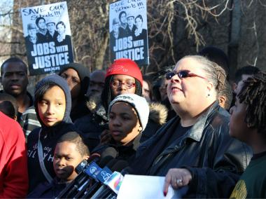 Chicago Teachers Union president Karen Lewis held a rally at Mahaila Jackson Elementary School, 917 W. 88th St., one of the 52 schools CPS has decided to shutter.