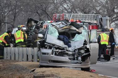 Two men were killed and several others injured in a crash that closed southbound Lake Shore Drive.