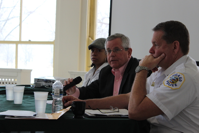 <p>Tom Byrne, director of park services for the Chicago Park District, answers questions at Saturday&#39;s &quot;Security Summit&quot; hosted by the Friends of the Parks organization.</p>