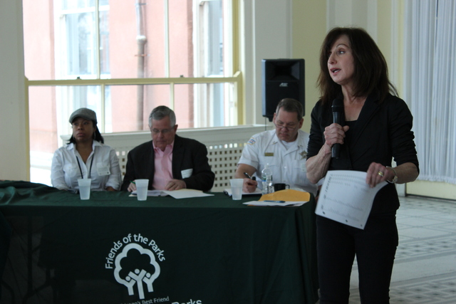 <p>Erma Tranter, president of Friends of Parks, introduces a panel of park district and police officials at Saturday&#39;s &quot;Security Summit.&quot;</p>