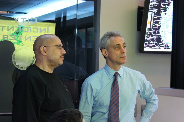 <p>Mayor Rahm Emanuel stands with Streets and Sanitation Commissioner Charles Williams at the city&#39;s OEMC building Tuesday. Emanuel and Williams said the city is prepared for the snowstorm that rolled into Chicago Tuesday.</p>