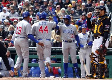 Anthony Rizzo celebrates after hitting a two-run homer in the first inning against the Pittsburgh Pirates on Opening Day at PNC Park in Pittsburgh.