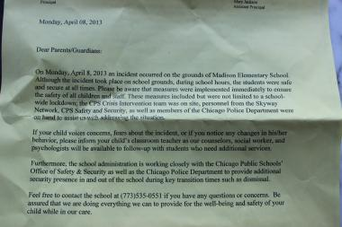 "A CPS memo informing parents of an ""incident"" was delievered six hours after the shooting Monday morning."