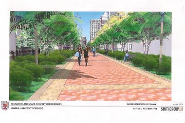 Representatives from Loyola University introduced plans to permanently close Kenmore Avenue.