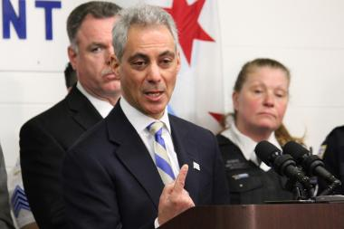 Mayor Rahm Emanuel talks about Chicago's policing strategies at the Calumet police station on Monday.