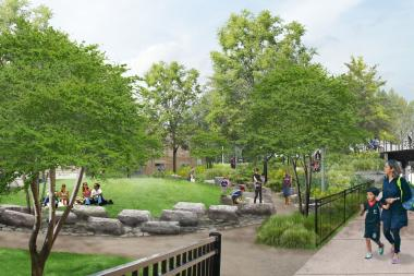 "Work is expected to resume ""any day now"" on a park at 1805 N. Milwaukee Ave. in Bucktown that will serve as an entry park to the Bloomingdale Trail."