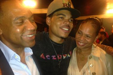 Chance the Rapper (c.) hugs his mom, Lisa Bennett and dad, Ken Bennett, after Sunday's sold-out concert at Metro.