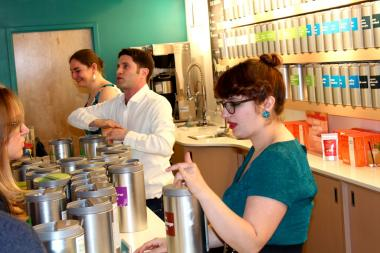 David Segal, founder of DAVIDsTEA, was in the Lincoln Park location of the tea chain to launch a summer line of teas Wednesday night.