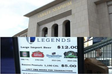 Chicago's Goose Island India Pale Ale is exotic enough to be sold as a $12 import at Yankee Stadium. The signs are being changed to correct the error.