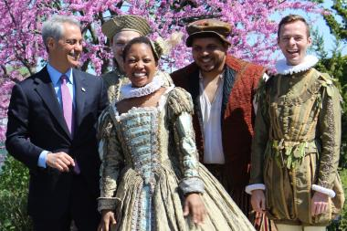 "Mayor Rahm Emanuel jests with Chicago Shakespeare Theater actors in announcing an expanded ""Night Out in the Parks"" program."