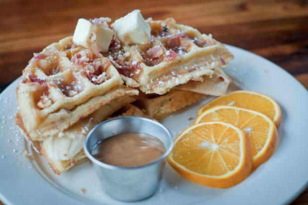 Bacon-Banana Waffle Sandwich With Peanut Butter And Maple ...