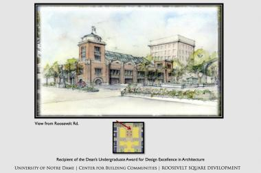 A library, market and Buddhist meditation center were several projects imagined by fifth-year University of Notre Dame architecture students for the Roosevelt Square area on the Near West Side.