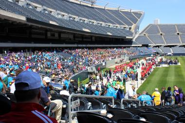 More than 3,000 athletes parade through Soldier Field Tuesday morning to kick off the Special Olympics Spring games.
