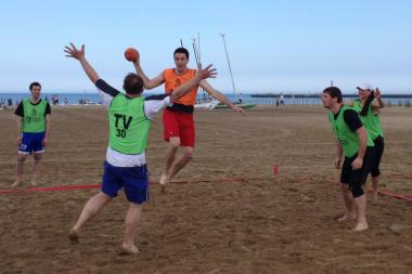 Members of the Chicago Inter Handball Club practiced at Montrose Beach in preparation for an instructional beach handball event at North Avenue Beach on Saturday, June 22.