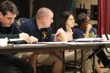 Local School Council members discuss the projected budget for Gale Math and Science Academy Tuesday afternoon, which was slashed by $448,000.