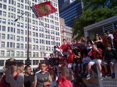 Thousands arrived Downtown Friday morning for the parade to celebrate the Blackhawks winning the Stanley Cup.