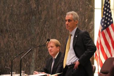 Mayor Rahm Emanuel and Corporation Counsel Stephen Patton listen to City Council debate on the revised parking-meter deal.