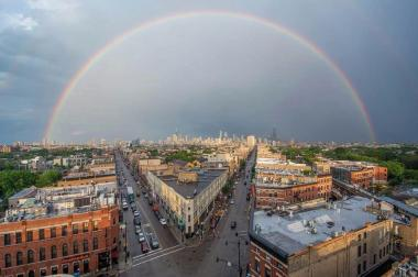 Chicagoans took to social media to show off the double rainbows they spotted around town Monday evening.