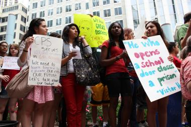More than 150 parents, students and teachers protested CPS budget cuts Downtown on Friday morning.