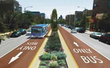 A rendering of a proposed express bus coming to Ashland Avenue.