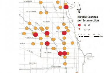 "Most crashes for bicyclists occurred at ""complex"" intersections, according to a Chicago Transportation Department study conducted between 2005 and 2010."