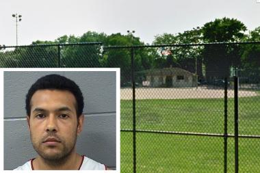 Emmanuel Hernandez, 27, of the 3000 block of South Tripp Street, is charged with attempted murder and aggravated battery in the stabbing of two men in a park full of kids after a T-ball game in Hoyne Park (pictured).