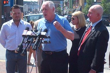 Gov. Pat Quinn took to Wrigley Field to discuss his proposed changes to an Illinois concealed carry bill.