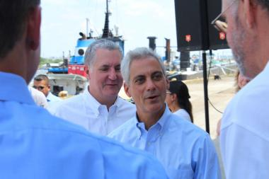 In his first press conference since lay off notices went out to more than 2,000 teachers and school support staff, Mayor Rahm Emanuel blamed the city and state's pension problems for budget cuts to the schools.