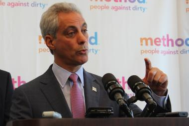 Mayor Rahm Emanuel cheered higher test scores in elementary schools and credited the longer school day he brought to CPS.