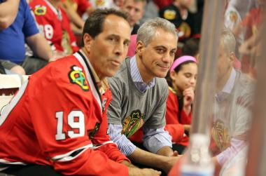 Rahm Emanuel, seen here at Game 1 of the Stanley Cup finals, gets to take over the official Boston city website Wednesday as part of the spoils from a Stanley Cup wager. (File Photo)