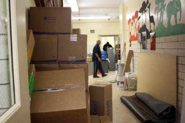 Ahead of August's school opening, boxes lined the halls of Drake Elementary School, 2710 S. Dearborn St.