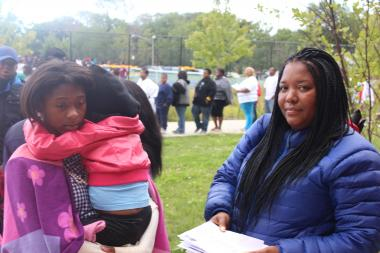 More than a 1,000 needy students showed up at the Ray and Joan Kroc Corps. Community Center in West Pullman on Wednesday, Aug. 14, 2013 for a free back-to-school supply giveaway by Oscar-winner Jennifer Hudson.