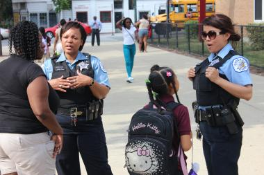 There was a large presence of Chicago police after school at 3:45 p.m. at the John Harvard Elementary School of Excellence in Grand Crossing.