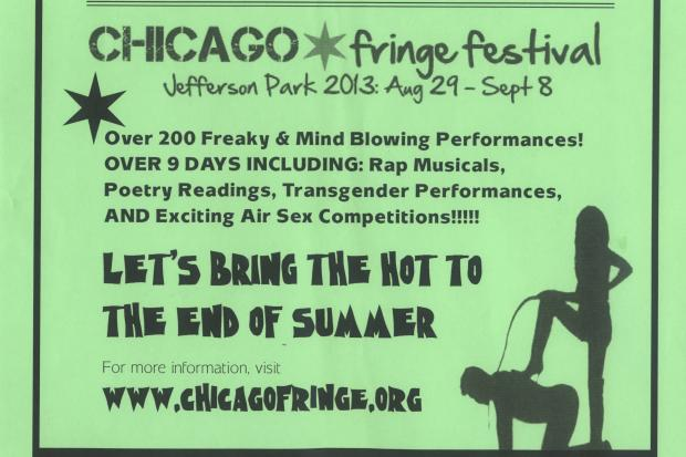 "A fake flier touting the Chicago Fringe Fest's connection to Ald. John Arena encouraged people to bring their ""fetish, perversions and imagination"" to the nine-day fest."