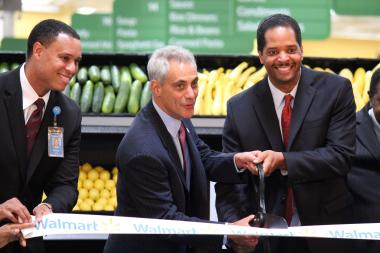The new Pullman Wal-Mart at 10900 S. Doty Ave. will get CTA bus service starting Wednesday, announced Mayor Rahm Emanuel (c.) and 9th Ward Ald. Anthony Beale (r.) Tuesday.