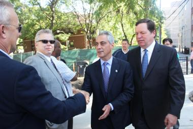 Mayor Rahm Emanuel and Ald. Joe Moore (r.) want to take participatory budgeting citywide.