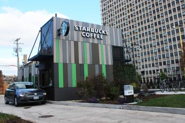 A drive-thru Starbucks with a walk-up window opened at Devon Avenue and North Broadway.